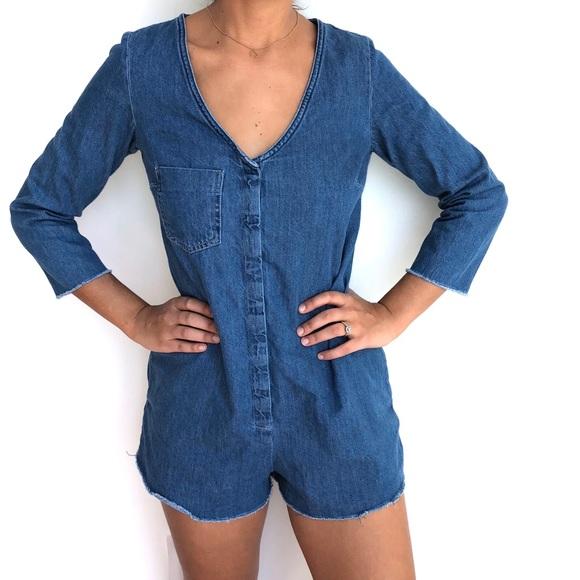 18fcd7ffdb32 Zara denim romper jumpsuit shorts S. M 5bdcb530fe515104ceb1f661